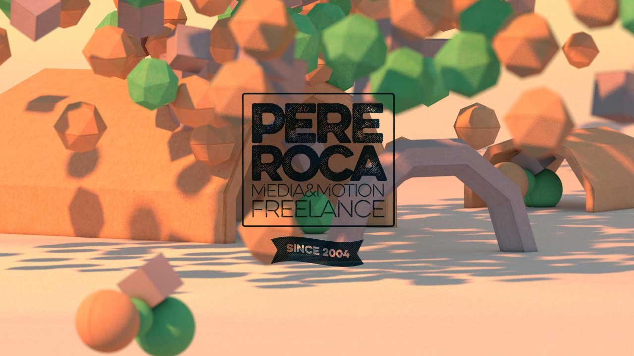 Low poly C4D test amb logo Pere Roca
